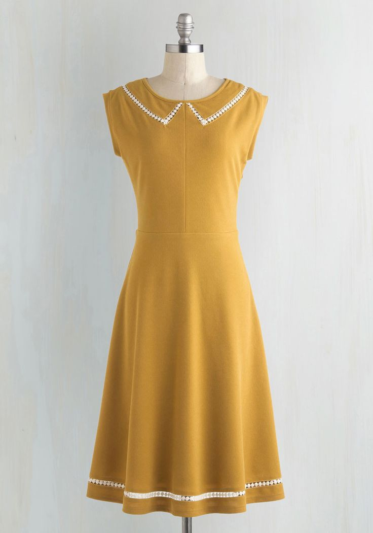 Author Outings Dress in Goldenrod by ModCloth - Yellow, White, Solid, Peter Pan Collar, Casual, A-line, Cap Sleeves, Collared, Vintage Inspired, Nautical, Exclusives, Private Label, Press Placement, Long