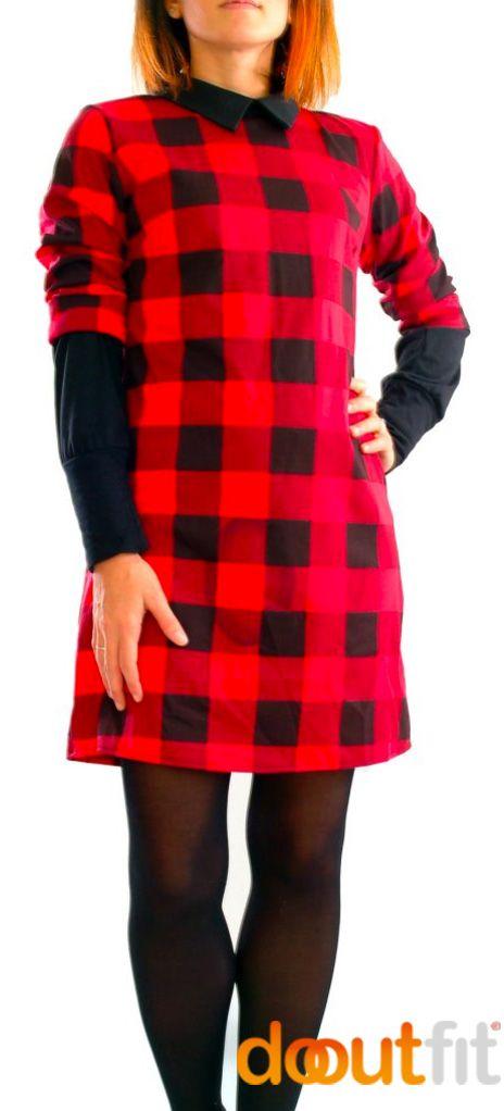 Vestito a Scacchi Rosso Nero con colletto