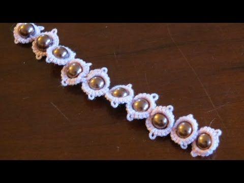 58-Shuttle tatting#Lesson12,adding beads to the lace(Hindi/Urdu) - YouTube