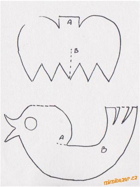 Ptáčka si mohou vyrobit děti samy, nebo malí škulkové s pomocí maminky<br><br>POMŮCKY: barevný papír...