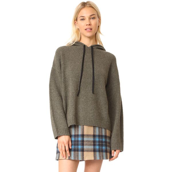 Robert Rodriguez Reversible Hooded Pullover ($395) ❤ liked on Polyvore featuring tops, sweaters, extra long sleeve sweater, crew top, brown long sleeve top, reversible top and brown crew neck sweater