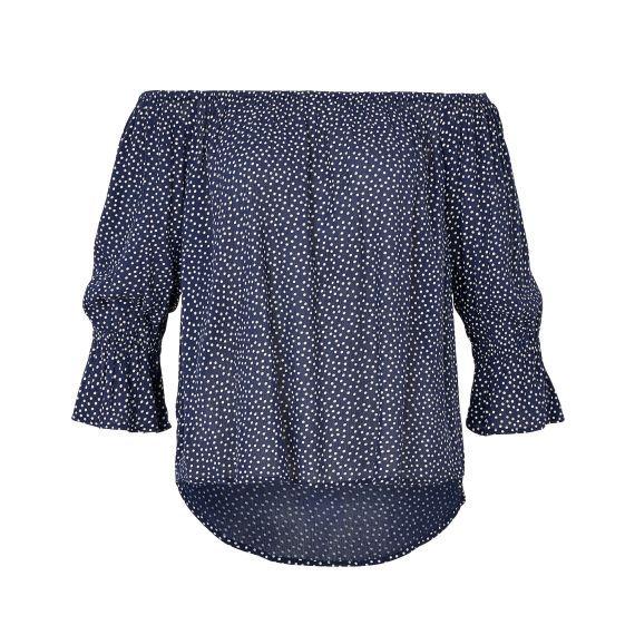 Romantische Pünktchen-Bluse von RALPH LAUREN mit elastischem Carmen-Ausschnitt.