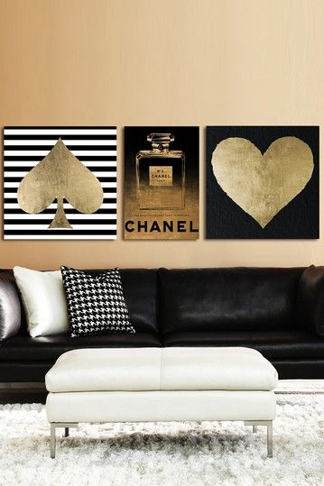 Oliver Gal Be Golden Canvas Art - Set of 3 by Oliver Gal Gallery on Fine art canvas print by The Oliver Gal Artist Co. #Chanel #spade #hearts