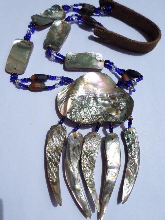Native American Abalone Bear Claw Necklace Di Restoredrust