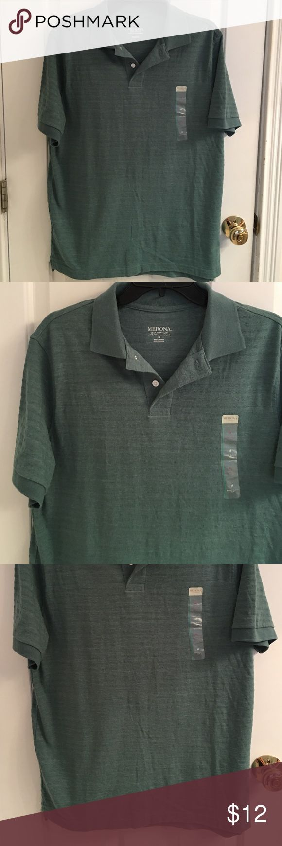 NWT- Merona Short Sleeve Green Polo Shirt NWT- Men's Merona short sleeve polo shirt. Size medium. Excellent condition. 60% Cotton 40% Polyester Merona Shirts Polos