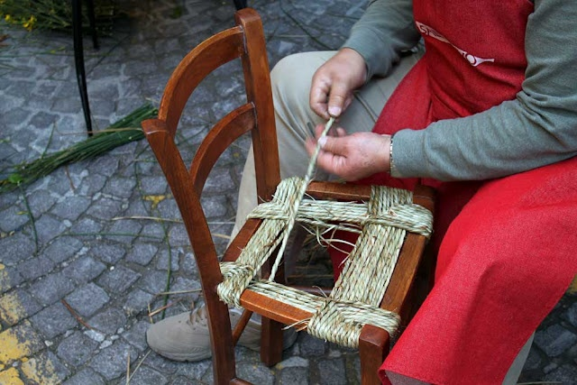 Traditional straw woven chairs in Le Marche, Italy