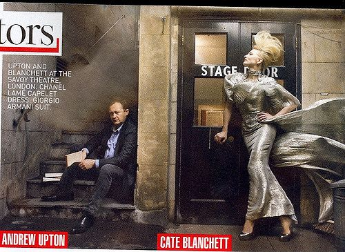 Cate Blanchett and Andrew Upton at the Savoy Theatre. Photograph by Annie Leibovitz. Taken from 'Truth or Dare' for Vogue.com; the complete story appears in the December 2009 issue of Vogue.