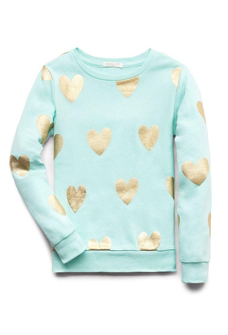 Fancy Hearts Sweatshirt (Kids) | FOREVER21 girls All you need is love #Juniors #Metallic #SweaterWeather