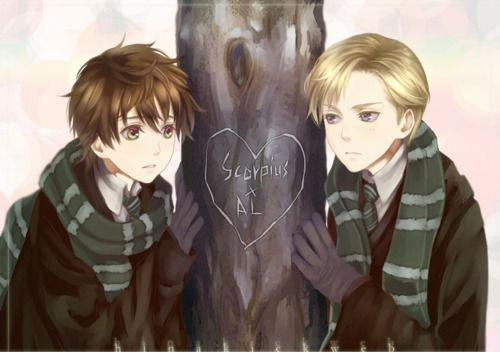 I am not a big fan of this pairing, but the art is so good!  Albus Severus/Scorpius from Harry Potter.