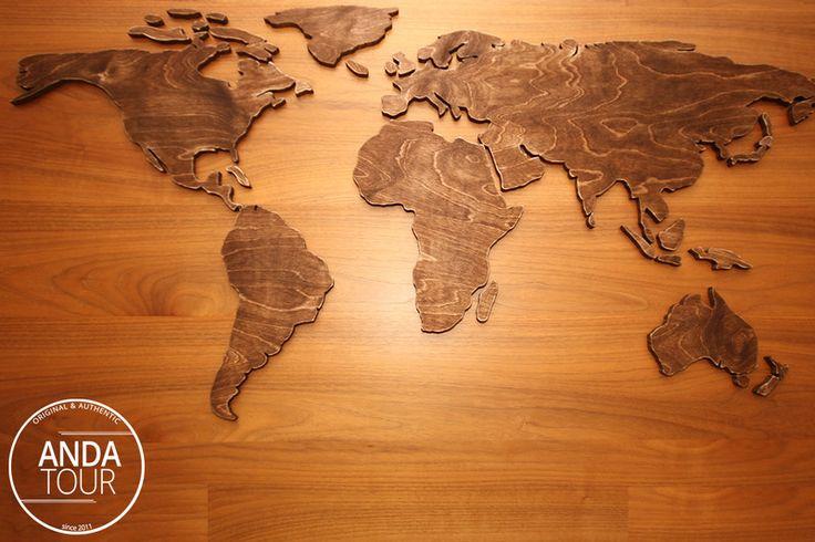 Weltkarte+aus+Holz+von+ANDA-TOUR+auf+DaWanda.com