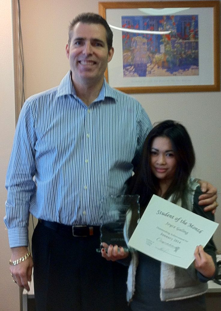 Vancouver-Broadway Campus' Student of the Month for January Joyce Galing received her award from Campus Owner Steve Whiteside. Congratulations, Joyce!