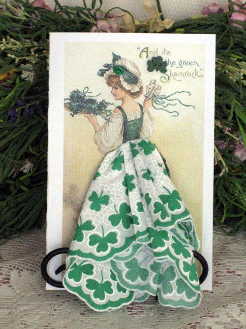 The Green Shamrock Keepsake Hanky Cards by onceuponahanky on Etsy, $10.00