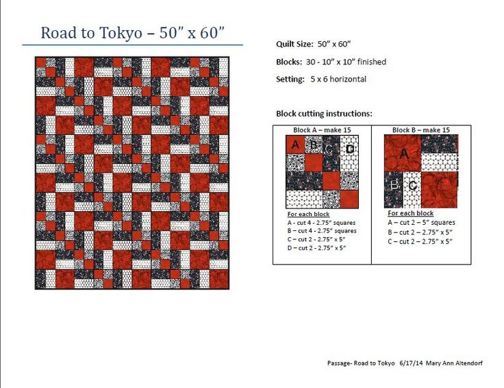 """""""Road to Tokyo"""" quilt pattern for St Vincent Passage Quilts  (June 2014)"""