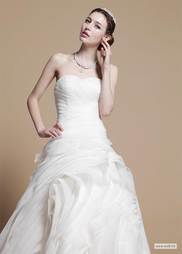 outdoor bridesmaid dresses Fancy Strapless Ruffled Organza Wedding Dress  $498.98