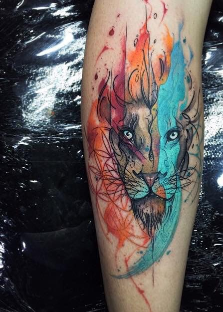 Lion water color tattoo