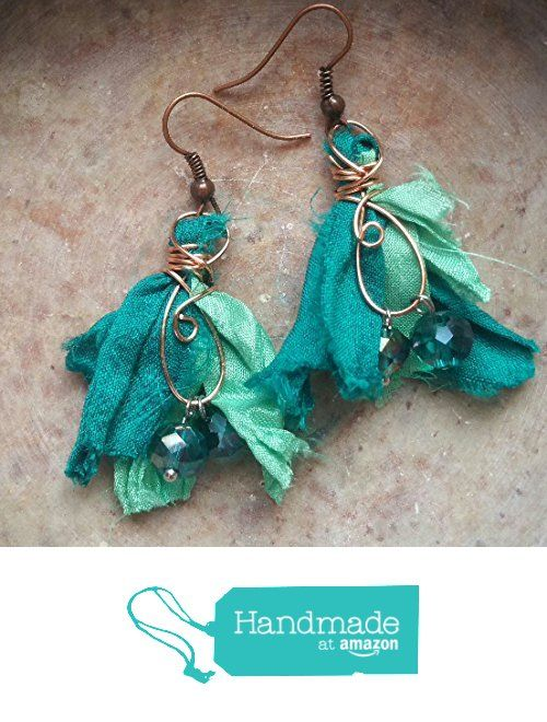 Two-Tone Teal Recycled Sari Silk Tassel Earrings from Bead On A Wire http://www.amazon.com/dp/B01C1Q3ZBQ/ref=hnd_sw_r_pi_dp_YYwjxb0WY6DV6 #handmadeatamazon
