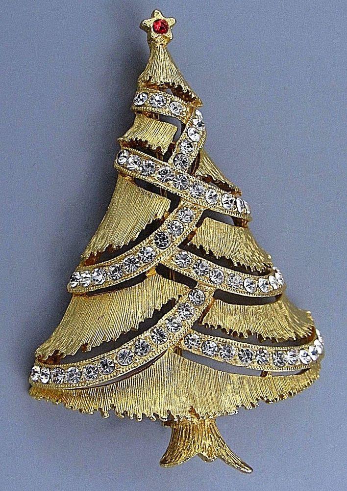 8938047d4 Vintage Jewelry Signed JJ Garland Christmas Tree BROOCH PIN Rhinestone Lot  Q #JJ