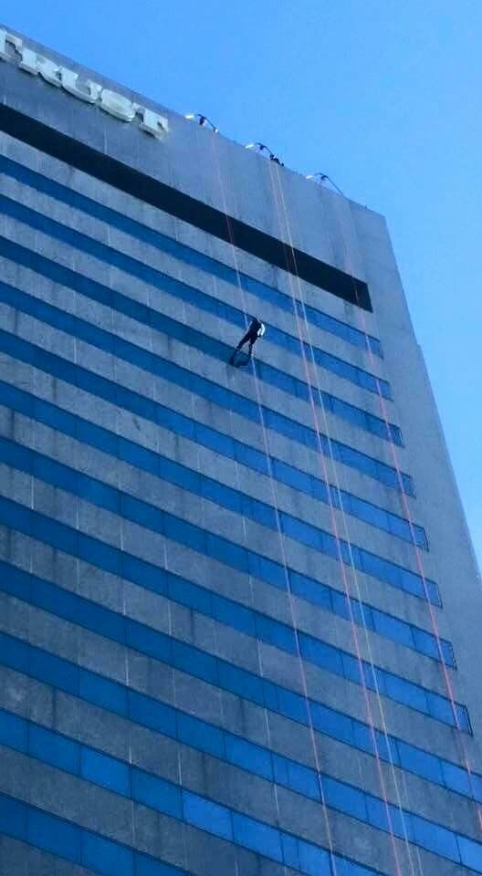 Messiah raised over $18k in 3 years of rappelling. Here, one of our congregants goes Over the Edge, a rappel down Sun Trust Tower in #RVA, in support of Special Olympics (2015). MessiahMech.com