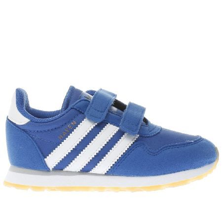 #Adidas blue haven boys toddler #Add a little 70s retro flair to your little ones wardrobe with the Haven from adidas as they downsize this classic profile for kids. The blue trainer boasts a clean design with serrated white 3-Stripes, finished with easy touch fastening straps. UPPER: Fabric and suede, LINING: Fabric, INSOLE: Ortholite, OUTSOLE: Gum rubber Material : Man Made, Colour : blue, Product Code : 5503805060 (Barcode EAN=4058023309941)