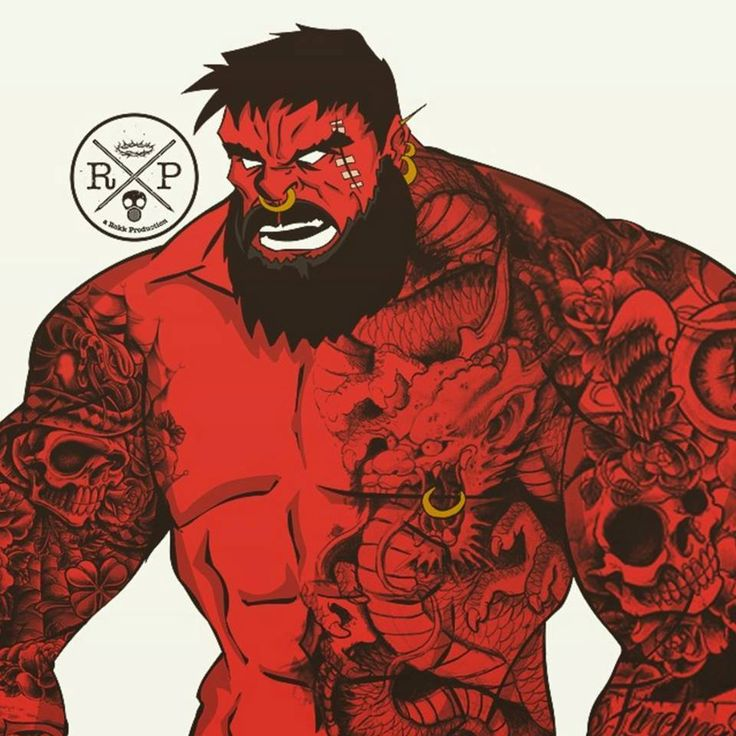 Pop culture cartoon characters with beard and tattoos12
