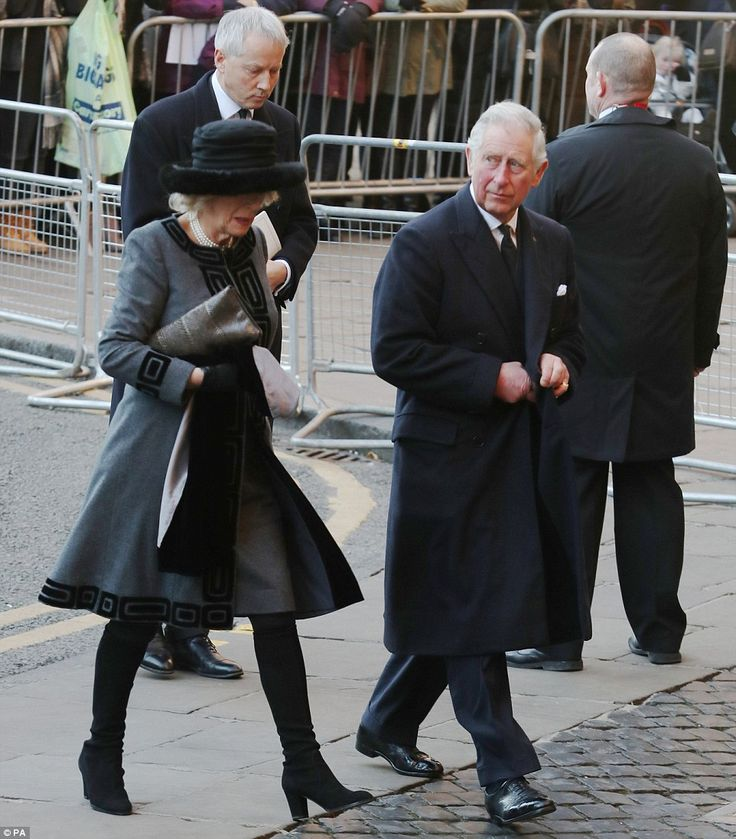 dailymail:  Memorial Service for Gerald Grosvenor, 6th Duke of Westminster, Chester Cathedral, November 28, 2016-Duchess of Cornwall and Prince of Wales