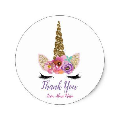 Gold Glitter Magical Unicorn Horn Birthday Party Classic Round Sticker - bridal shower gifts ideas wedding bride