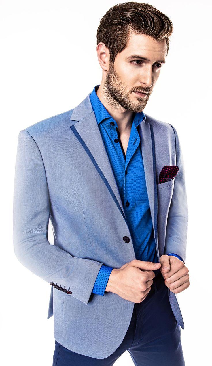 Kolekcja Giacomo Conti 2014 - błękitna marynarka Enrico 14/39 OM, niebieska koszula męska Riccardo 14/05, granatowe spodnie Domenico 14/10T. #giacomoconti