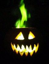How To Make a Green Fire Halloween Jack-o-Lantern: You could put a simple candle inside your Halloween jack-o-lantern, but filling it with green fire is much more fun!