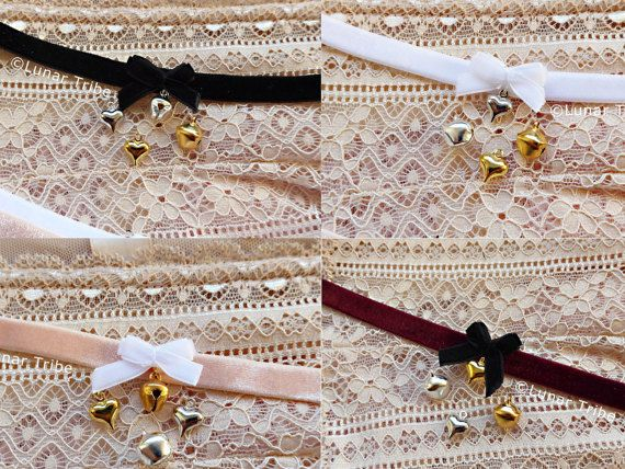 Cute handmade choker by Lunar Tribe Jewelry #choker #chokernecklace #necklace #cute #kawaii #white #black #pink #silver #velvet #spikes #rivet #bow #bell #jewelry #handmade #etsy #shop #cosplay #kitten #kittenplay #kinky #lolita #anime #style #fashion #bondage #sexy #lovely #madewithlove #goth #gothic #alternative #alt #jewellery #witchy  #heart