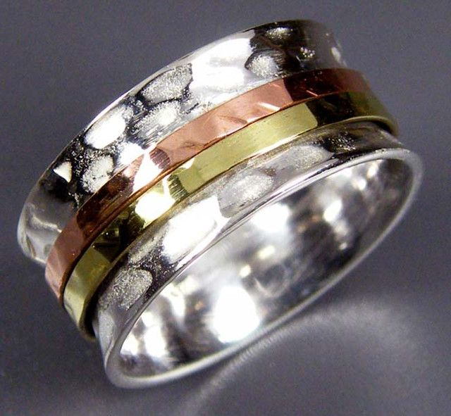 COPPER BRASS HAND ETCHED SILVER RING SIZE 6 GTJA660