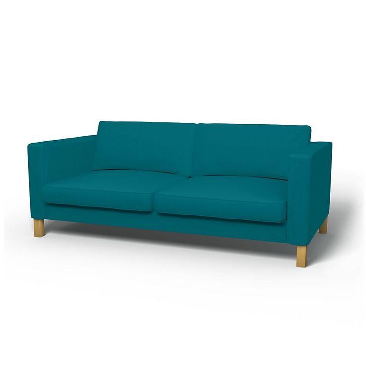 Karlstad, Housses de canapé, 3 places, Regular Fit utiliser le tissu Panama Cotton Teal Blue