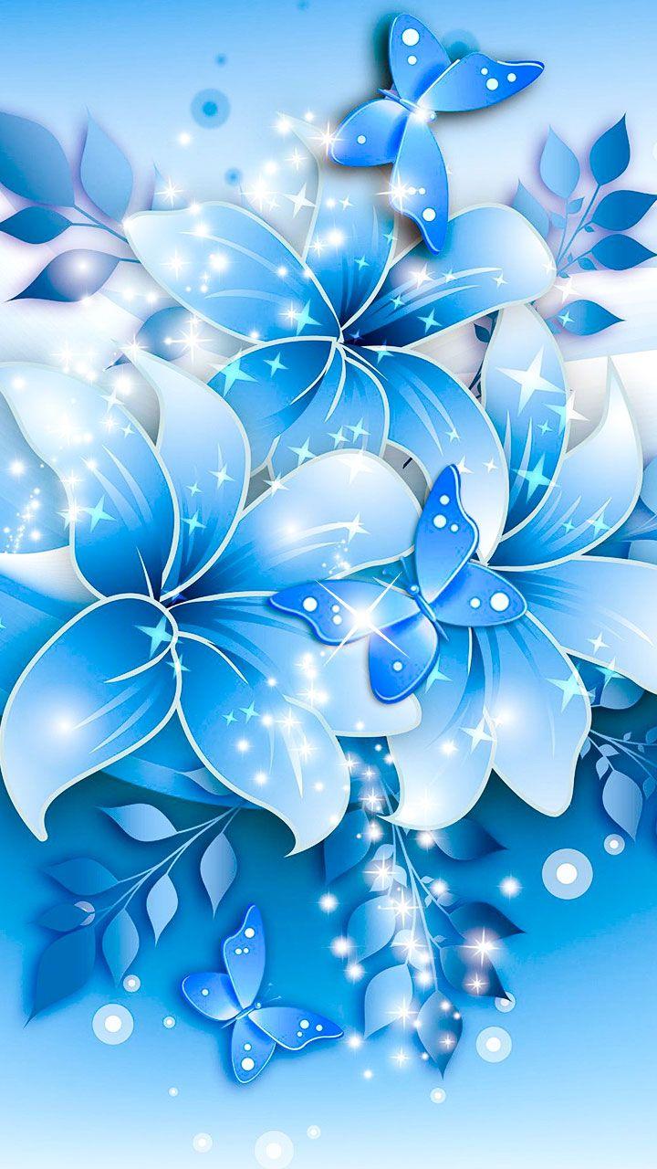 Flowery Illustrations Of Blue Flower Design Sharp High Resolution Wallpaper Art For Flower Fans Blue Flower Wallpaper Pink Flowers Wallpaper Art Wallpaper