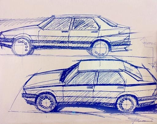 Alfa 75 design sketches by Dr. Ermanno Cressoni