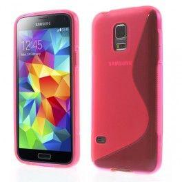Galaxy S5 Mini roosan punainen silikonisuojus.