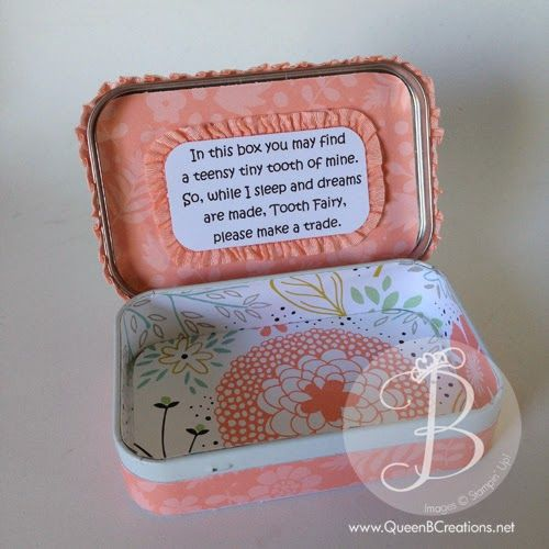 Stampin' Up! tooth fairy box from an Altoid tin by Queen B Creations #stampinup #toothfairy #giftidea