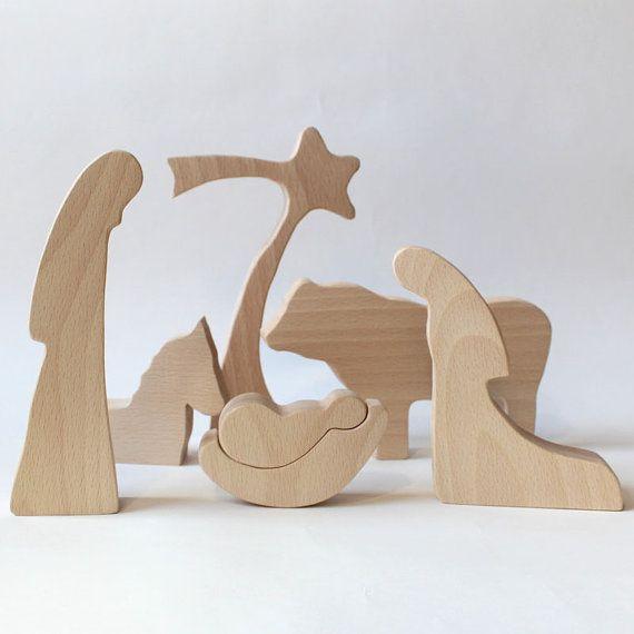 Houten kerststal  NATUURLIJKE houten geboorte door LovingWoodCom