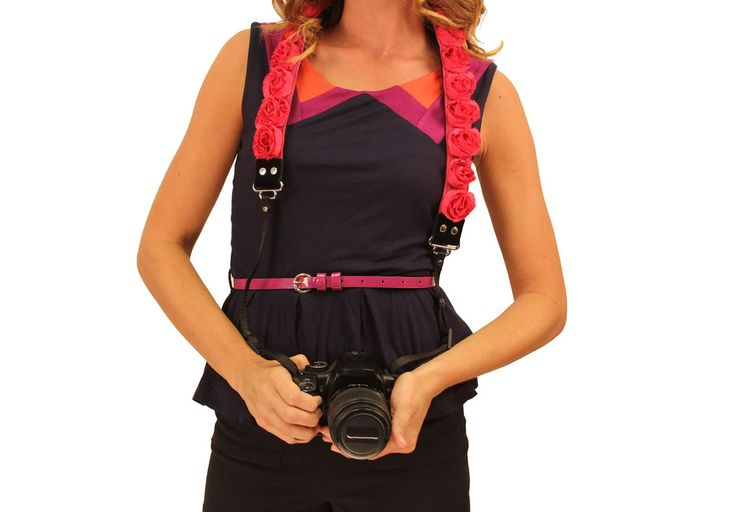 $75 Stylishooter - Hot Pink Organza Camera Strap  by Capturing Couture