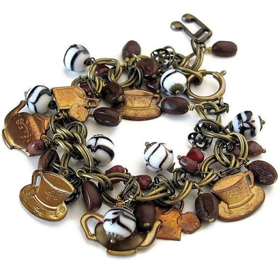 Coffee jewelry coffee charm bracelet coffee by OneEyeCatStudio, $53.00