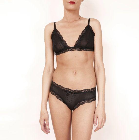 Black lace lingerie set triangle-cut Bustier Bra by CocoonUndies
