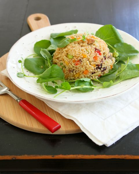 Quinoa, Edamame and Pepper Salad with Kaffir Lime Vinaigrette   #vegan #glutenfree #MeatlessMonday