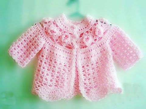 baby cardigan with 2d flowers - YouTube