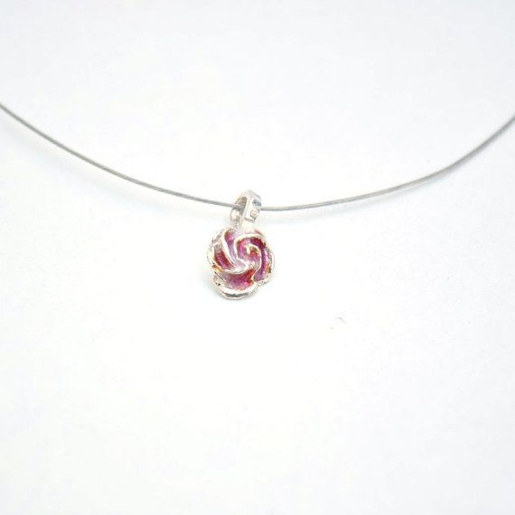 Sterling Silver and Enamel Pendant - Rose, Bridesmaid Set, Christmas gift, Black Friday Sale, Cyber Monday €12.50