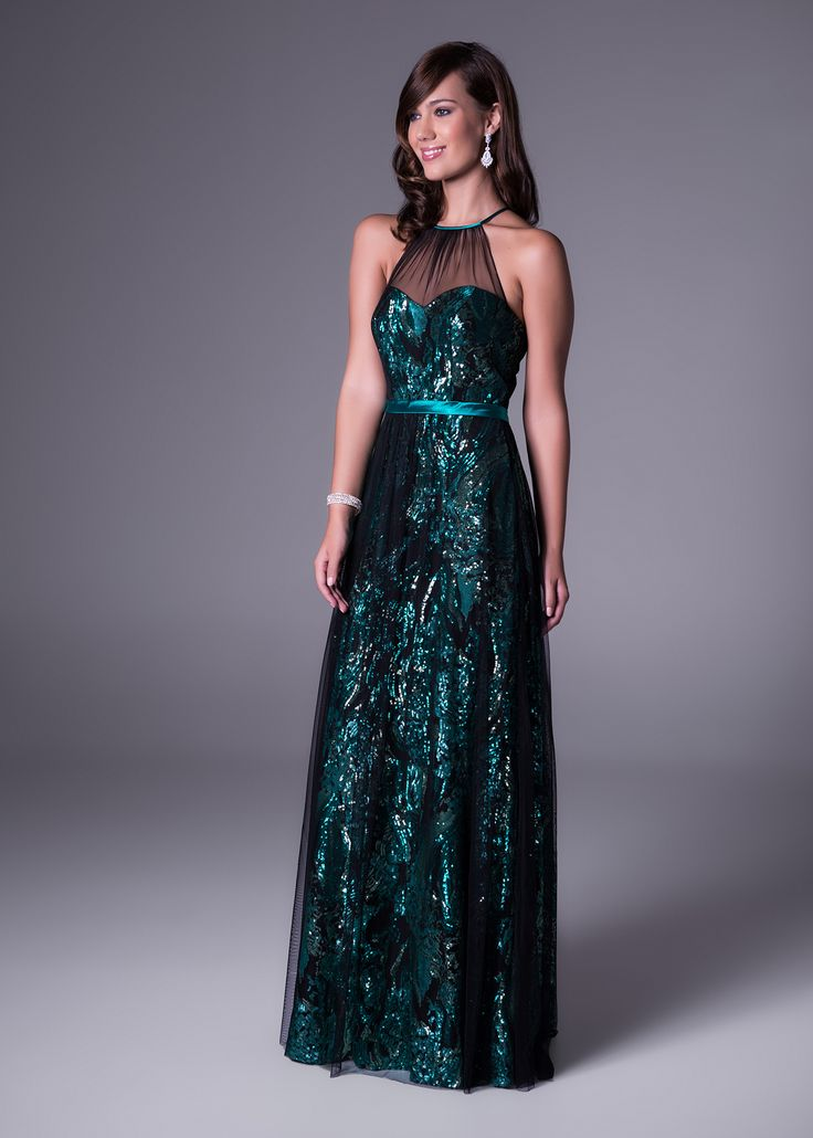 Arrive at your #matricdance in a #dress that no-one will forget! We love this high #illusion #neckline and #glam #sequinned #gown (style VC2854). Click to view more colours. #matric #dance #dresses #brideandco #brideandcosa