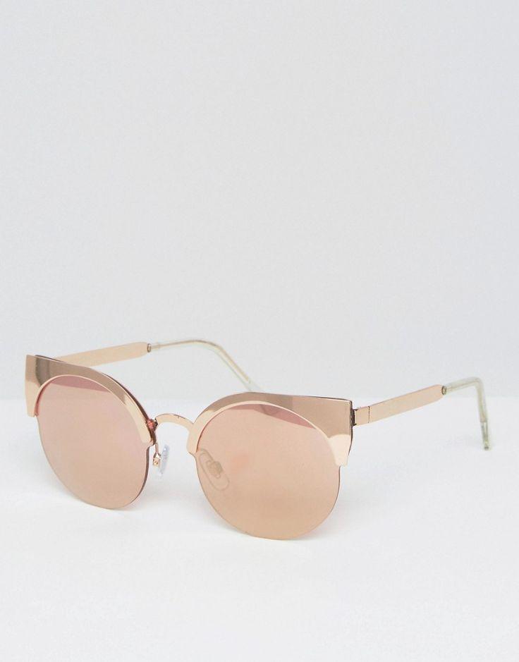 Monki - Lunettes de soleil yeux de chat - Or rose