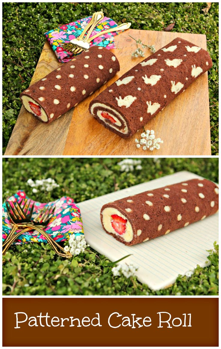 Patterned Cake Roll.Watch the video for step by step instructions. http://www.ifood.tv/recipe/how-to-make-patterned-cake-roll-chocolate-cake-roll-filled-with-whipped-ganache