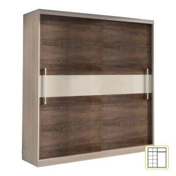 Šatní skříň s posuvnými dveřmi, jasan dub Torino