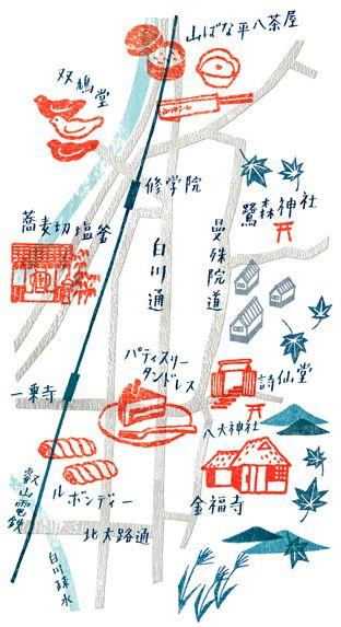 'Rakuhoku, Kyoto' Croissant - map illustration by Masako Kubo