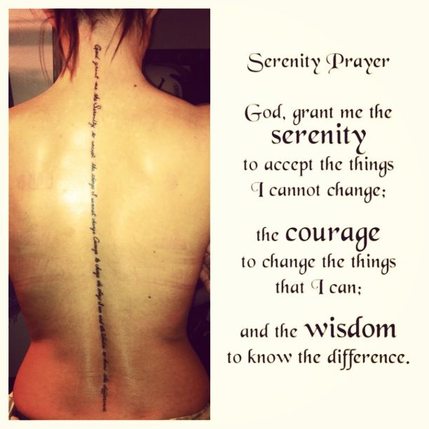 New tattoo <3 Serenity prayer  This is exactly it...with the exception that I want the words placed horizontally...three words side by side and for it to be the complete prayer in Spanish...