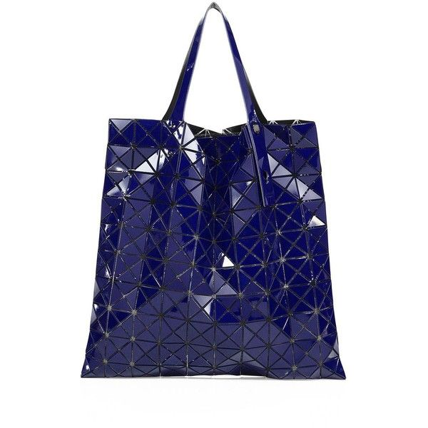Bao Bao Issey Miyake Prism Gloss Faux Leather Tote ($650) ❤ liked on Polyvore featuring bags, handbags, tote bags, apparel & accessories, navy, handbags totes, blue tote bag, navy blue handbags, handbag purse and man bag