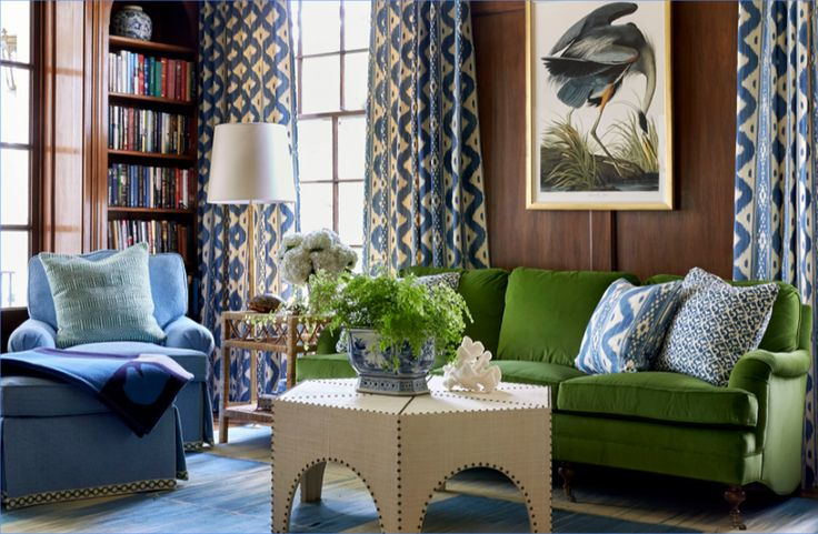 China Seas Bali Hai curtains and pillow by Sarah Bartholomew in House Beautiful, fabric from Quadrille